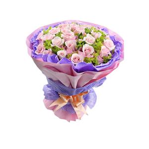 鲜花/誓言:29支戴安娜玫瑰 包 装:深紫色卷边纸内衬,水蜜桃