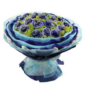 鲜花/爱到地老天荒:21枝蓝色妖姬单独包装 包 装:浅蓝色纱网内衬,天