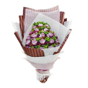 鲜花/浓情蜜意:22枝紫玫瑰单独包装 包 装:白色纱网围边,多层白