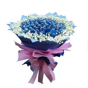 鲜花/天涯伴此生:99枝蓝色妖姬 包 装:蓝色皱纹纸、粉色绵纸圆形精