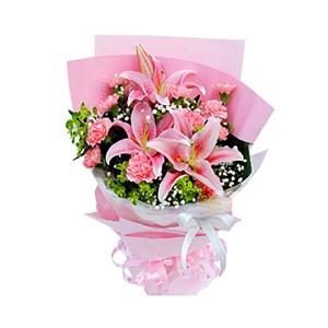鲜花/美丽心愿:2枝多头粉香水百合,11枝粉色康乃馨 包 装:粉色