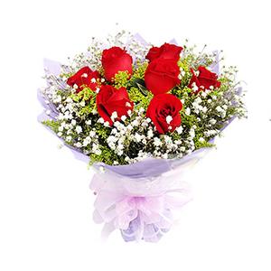 鲜花/常念心中:9枝红玫瑰 包 装:浅紫色手揉纸圆形包装,外层用白