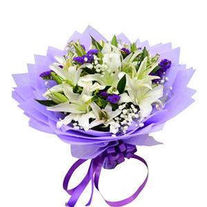 鲜花/百年好合:6枝白色多头香水百合 包 装:紫色棉纸包装,紫色丝