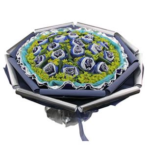 鲜花/不变的承诺:20枝蓝色妖姬独立包装 包 装:蓝色网纱围边,银色