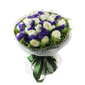 鲜花/为你着魔:19支白玫瑰 配材:黄英外围,勿忘我间插装饰 花
