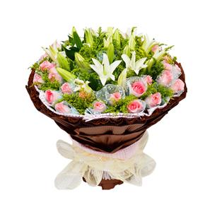 鲜花/钟情于你:36枝粉玫瑰独立包装,6枝多头白百合 包 装:浅蓝