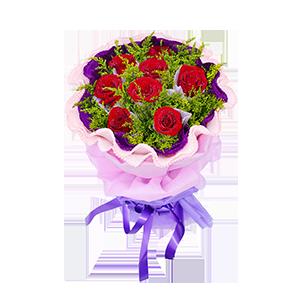 鲜花/相伴到永远:8枝红玫瑰独立包装 包 装:浅紫色学点纸独立包装,