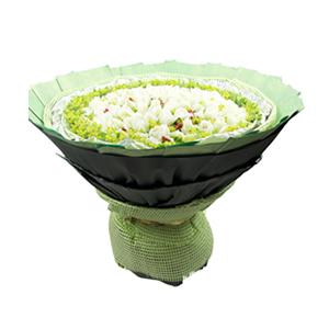 鲜花/纯棉爱情:99枝白玫瑰 包 装:绿色麻席内衬,银色卷边纸、绿