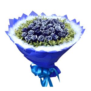 鲜花/爱上你:33枝蓝色妖姬 配材:水晶草丰满围边,外围一圈白色羽