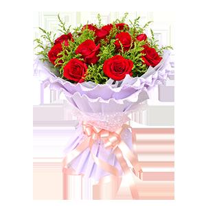 鲜花/一笑倾城:11枝红玫瑰 包 装:白色棉纸内衬,淡紫色卷边纸多