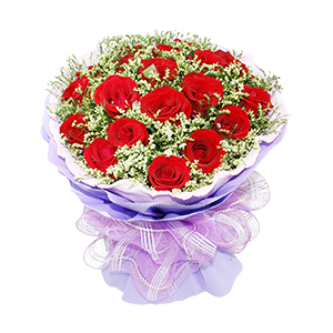 鲜花/有你的幸福:19枝精品红玫瑰 配材:情人草间插 花 语:有你的