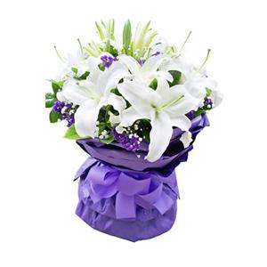 鲜花/一抹微笑:11枝香水百合。 配材:勿忘我、绿叶间插 花 语: