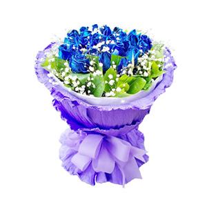 鲜花/蓝色萤火虫: 29枝蓝色妖姬。  [包 装]:白色瓦楞纸内