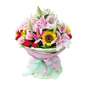 鲜花/放你在心底:6枝向日葵,9枝红色康乃馨,3枝粉色康乃馨,10枝粉