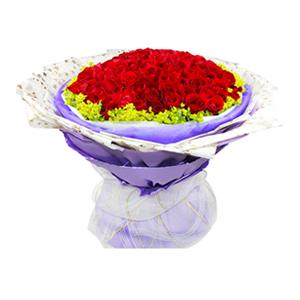 鲜花/此生挚爱:99枝红玫瑰 包 装:内层白色紫色双层纱网,外层花