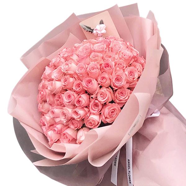 鲜花/就要爱:99枝精品粉玫瑰韩式包装 花 语:永远的爱,铭记于