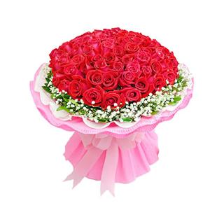 鲜花/幸福厮守: 99枝精品红玫瑰, 满天星 栀子叶外围  [