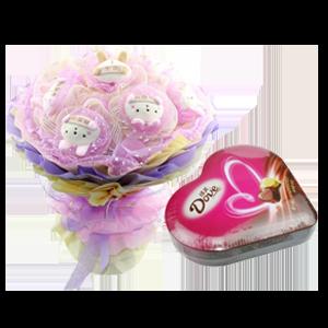 浪漫组合/守候一生: 宝贝饭团兔1只,我想你饭团兔8只,双层独立包装