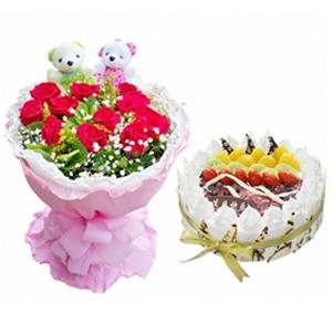 浪漫组合/快乐相随: 11枝红玫瑰,绿叶、黄莺、满天星丰满,一对小熊