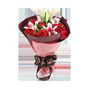 """鲜花/满满祝福:3枝百合21枝红玫瑰 花 语:""""执子之手,与子携老"""
