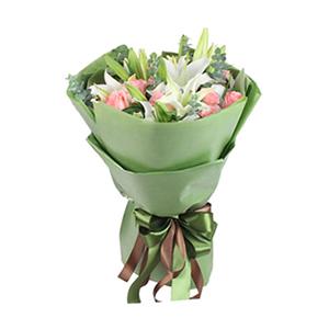 鲜花/悠悠我心:5支白百合,12支戴安娜玫瑰 包 装:绿色包装纸错