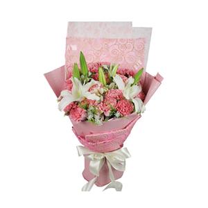 鲜花/母爱:21枝粉色康乃馨,2枝多头百合。 包 装:韩式雪花