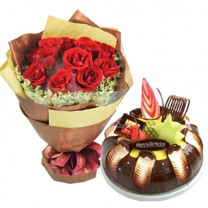 浪漫组合/绝美的盛宴: 11枝红玫瑰单独包装,水晶草围边;圆形水果巧克