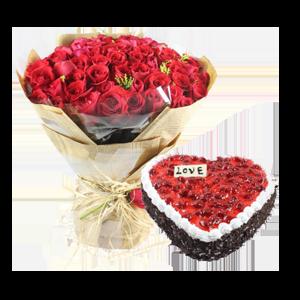 浪漫组合/唯爱永恒: 66枝红玫瑰,黄莺间插;心形鲜奶蛋糕,红色果酱