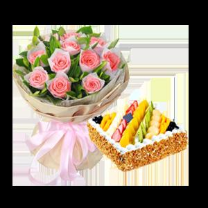 浪漫组合/这就是爱情: 11枝粉玫瑰,栀子叶丰满;圆形鲜奶水果蛋糕,各