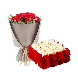 浪漫组合/浪漫有约: 21枝红玫瑰,欧式鲜奶蛋糕  [包 装]:高