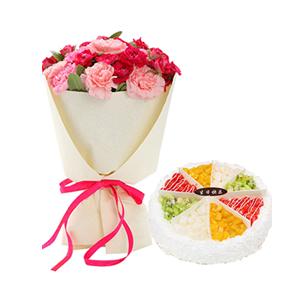 浪漫组合/谢谢您的爱: 21枝多色康乃馨(包括粉色,桃红色),圆形欧式