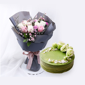 浪漫组合/最懂女神心: 韩式花束7枝精品白玫瑰,4枝粉玫瑰,仙范抹茶奶