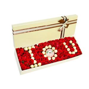 鲜花/真心永不变: 66枝红玫瑰、29个巧克力、1个苹果  [包