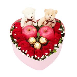 鲜花/爱的诺言:11枝红玫瑰、2个苹果、2只小熊、3个巧克力单独包装