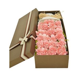 鲜花/祝福妈妈:33枝粉色康乃馨礼盒 花 语:最美的花儿献给妈妈,