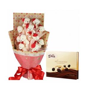 浪漫组合/陪伴: 11只红帽子小熊单包;德芙精心之选多种口味巧克