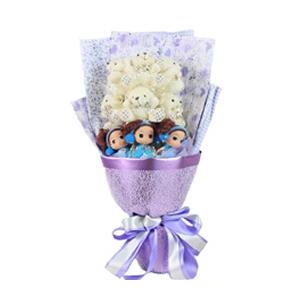卡通花束/爱•初见(卡通花束): 3只迷糊娃娃,6只领结熊。  [包 装]:高