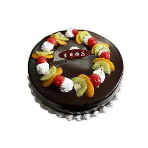 蛋糕/夜幕之光: 圆形鲜奶巧克力水果蛋糕,时令水果装饰,巧克力表