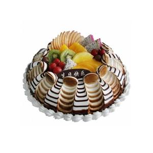 蛋糕/漫天心: 圆形鲜奶水果蛋糕,各式水果装饰  [包 装]
