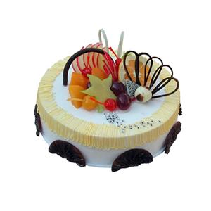 蛋糕/橙色心情: 圆形鲜奶水果蛋糕,橙色奶油流苏,时令水果装饰,