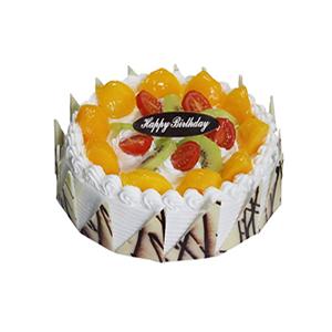 蛋糕/青春笑语: 圆形鲜奶水果蛋糕,上层时令水果铺面,周围巧克力