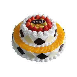 蛋糕/稳稳地幸福: 圆形双层鲜奶水果蛋糕,上层时令水果铺面,巧克力