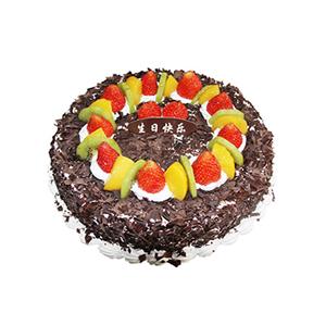 蛋糕/甜蜜时分: 圆形鲜奶水果蛋糕,上层时令水果铺面周围巧克力碎