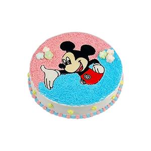 蛋糕/欢乐鼠: 圆形奶油蛋糕,一只欢乐米老鼠。  [包 装]