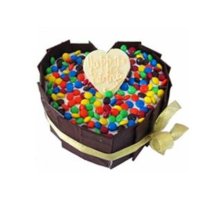蛋糕/彩虹堂: 心形鲜奶蛋糕,巧克力围圈,彩色糖果铺面  [
