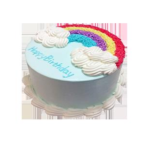 蛋糕/幸福不灭: 彩色蛋糕胚,奶油圆形蛋糕彩虹形状奶油装饰(需提