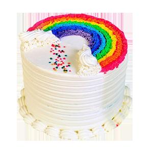 蛋糕/爱你的颜色: 彩色蛋糕胚,奶油圆形蛋糕彩虹形状奶油装饰(需提