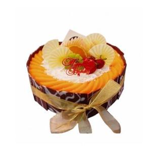 蛋糕/向日葵: 圆形水果蛋糕,黑色巧克力围边,时令水果装饰