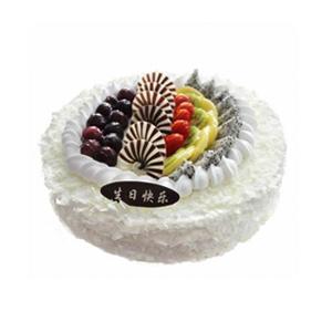 蛋糕/白色田园: 圆形鲜奶蛋糕,中间各色时令水果装饰及巧克力,周