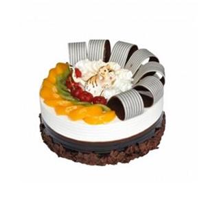 蛋糕/虎虎生威: 圆形欧式蛋糕,奶油小老虎装饰,水果巧克力围边。